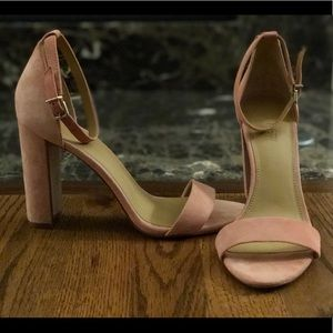 J. Crew high heeled suede sandal, sexy ankle strap